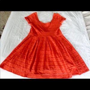 Short Sleeve Red Mini Dress